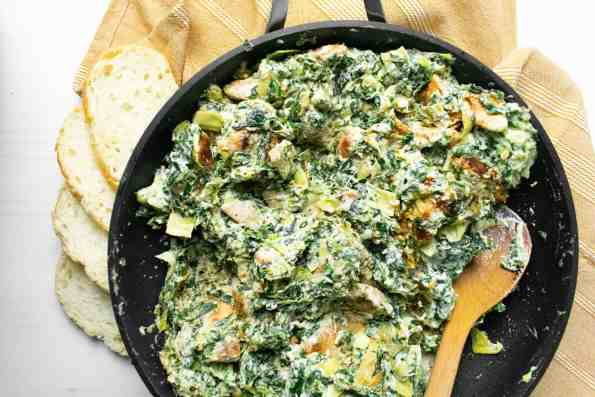 spinach in a black pan