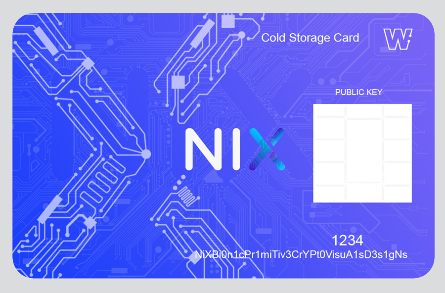Bitgraphix-Nix-Platform-Cold-Storage-Card-Sketch-white-X-circuit-lines-on-blue