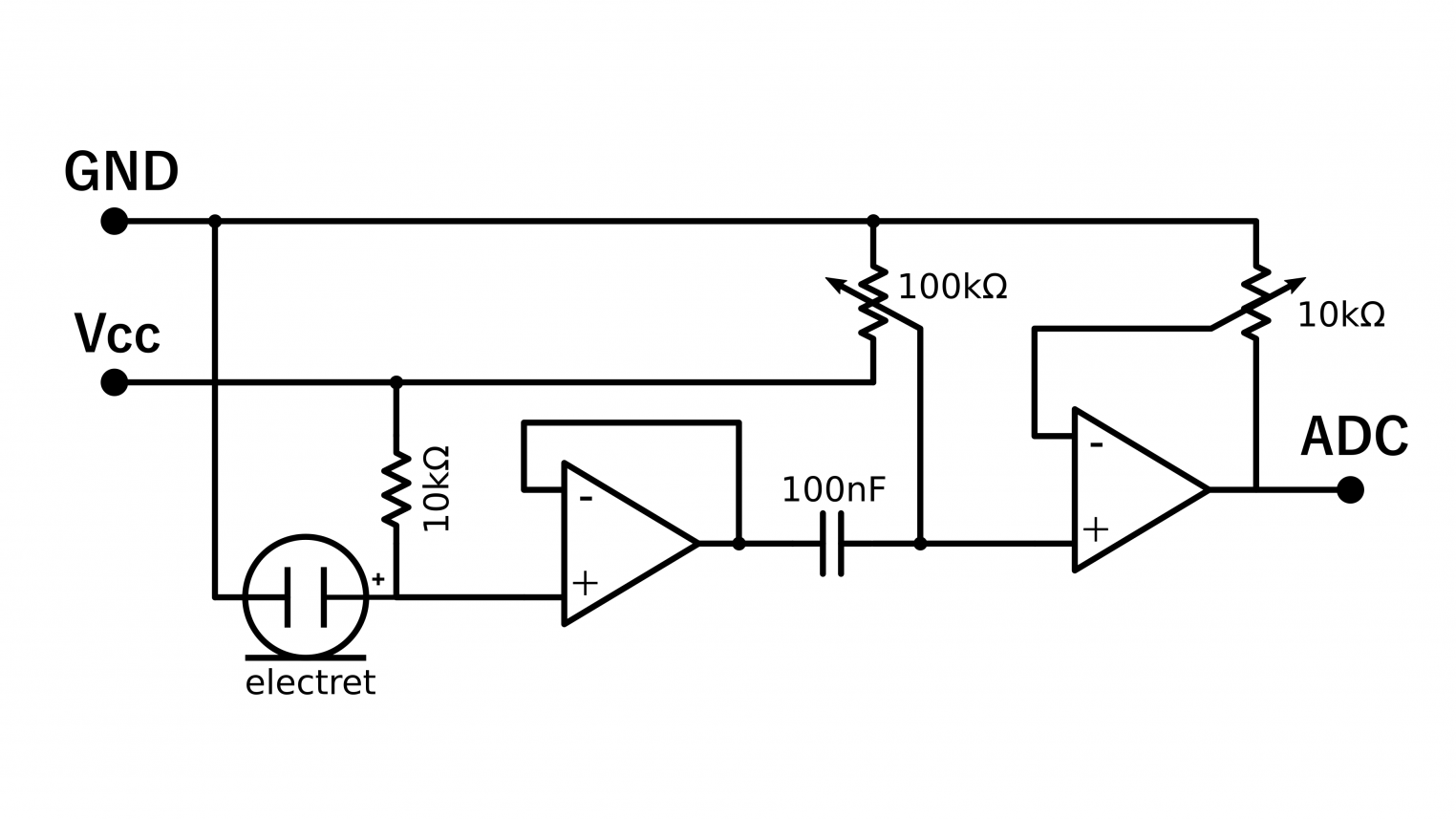 hight resolution of the circuit used in this project uses the dual op amp chip lm358 and a cheap electret capsule both op amp are utilized along two potentiometers and a few