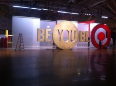 TARGET CORPORATE EVENT VOILE PANELS FINSIHED WITH KEDAR ROPE BEAD HUNG WITH SLIDING HANGERS