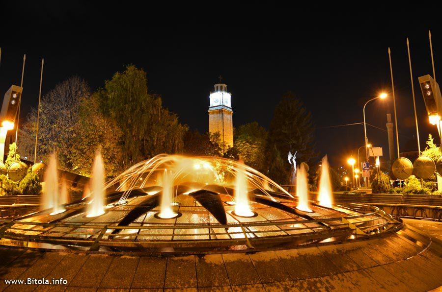 Bitola Clock Tower With Fountain - Night Scene