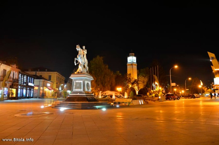 Monument Phillip II the Macedon with Bitola Clock Tower