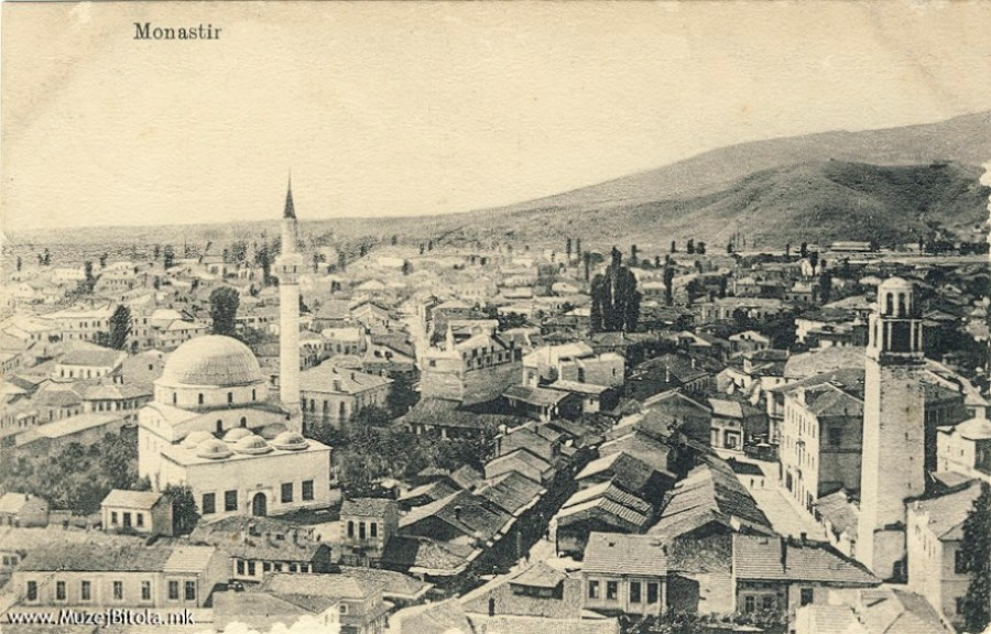 Pekmez Bazaar in Bitola with the Clock Tower in 1915