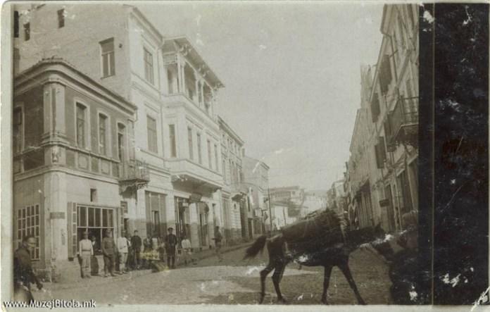 Shirok Sokak Bitola with Catholic church in 1916