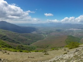 Pyramid Peak 1656 m (Golem Kamen) - view toward Prespa Lake, Macedonia