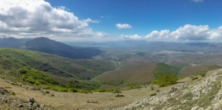 Pyramid Peak 1656 m (Golem Kamen) - view toward Prespa Lake, Macedonia