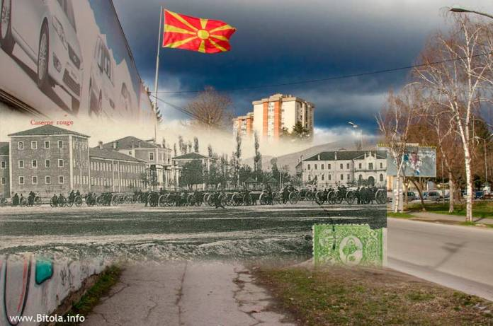 Дел од Црвената касарна (лево) и Военото училиште (десно) споредено со истата локација денес