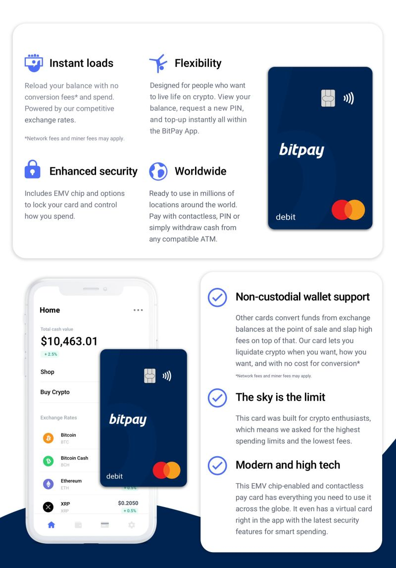 BitPay Card Feature Chart