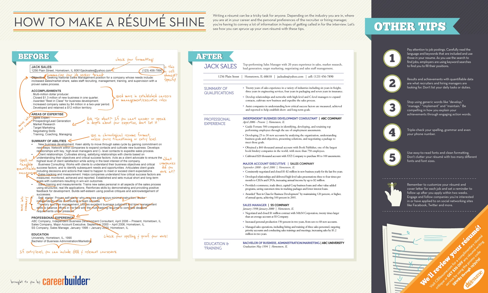 How To Make Your Resume Better Resume Tips To Help You Land That Job Infographic