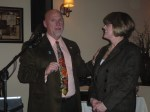 Dr. Richard Bassett, a SCSU professor and the Governor Elect for Rotary District 7980, inducted Donna Mae Cangiano into the North Haven Rotary Club on January 25th at Bellini's