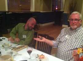 Ed Davies demonstrates the light the fare at the Black Rock Rotary Club