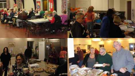 The collage demonstrates the busy scene at St. John's Episcopal Church as the North Haven Rotary Club provides one of its Friday night Community Suppers.