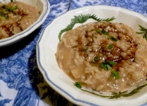 Dark roasted chicken stock and caramelized onions = delectable risotto, but perhaps not the prettiest you've ever seen!