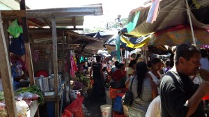market stalls in street in Granada Nicaragua. colourful and crowded.
