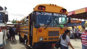 Yellow bus at Rivas bus station