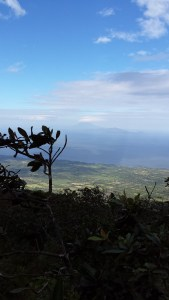 view of Lake Nicaragua from halfway up Volcan Concepcion.  clouds in blue sky