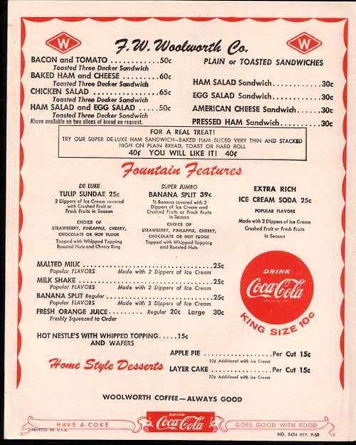 Woolworths menu