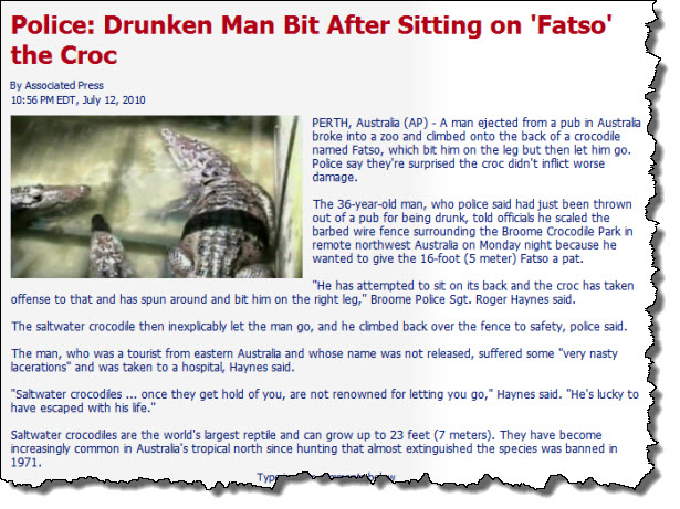 Drunk sits on croc