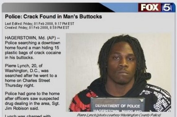 Crack in mans buttocks