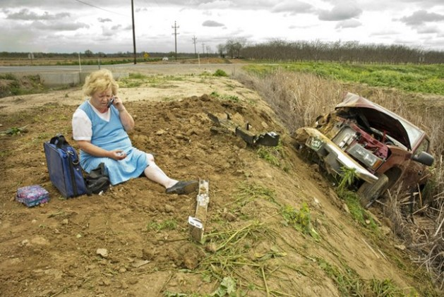 Car in ditch