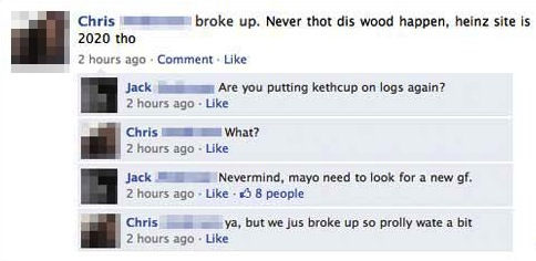 Ketchup on logs