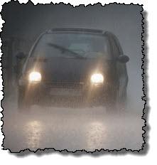 Rainy night car