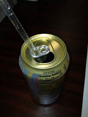 Straw in can