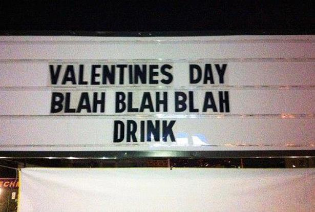 Valentines day bar sign