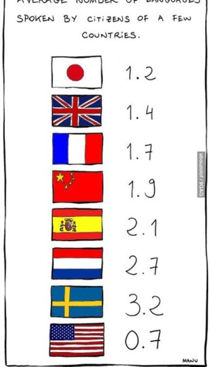 Average number of languages spoken