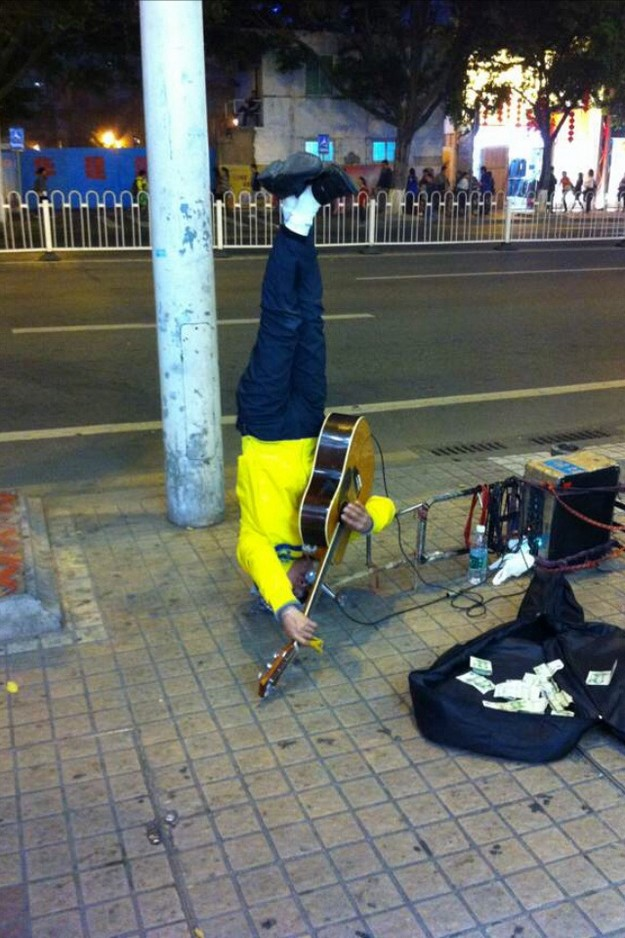 Strange street performer