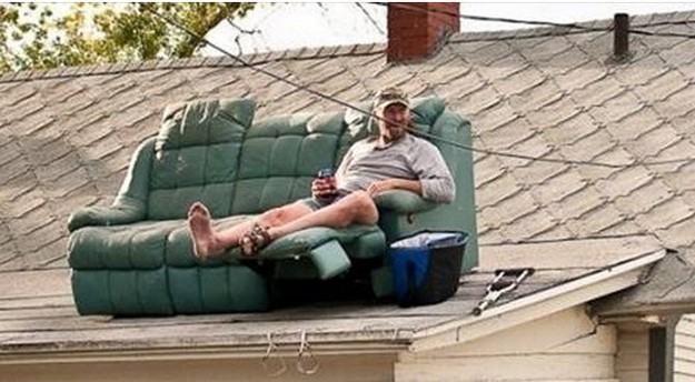 Couch on roof