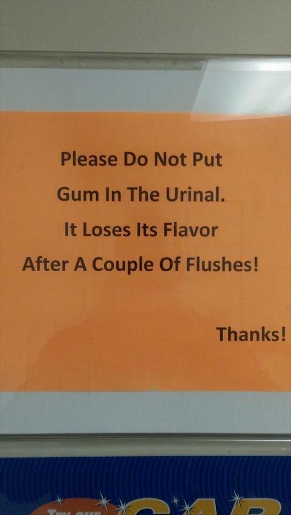 No gum in urinal