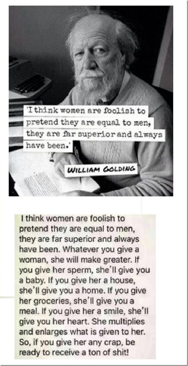 Women think they're equal to men