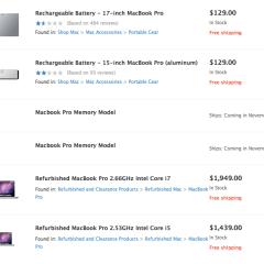 Macbook Pro, ¿Memory Model? se filtra en Apple Store en linea