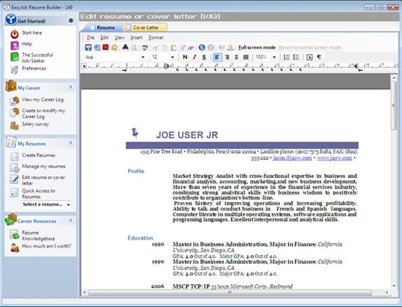 resume builder software download pc