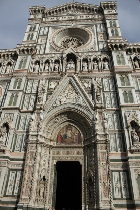 The marble covered entrance to the Basilica di Santa Maria del Fiore (or Florence Cathedral)