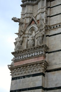 A close up of one of the many sculptures adorning the cathedral