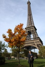 My mum in front of the Eiffel Tower