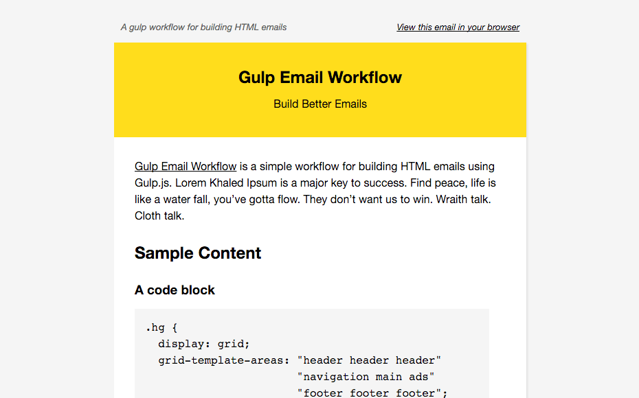 """It uses minimal media queries and a """"fluid hybrid"""" approach to ensure maximum compatibility. A Gulp Workflow For Building Html Email"""