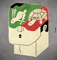 From Jim Holt review  in The New York Times. Illustration by David Plunkert.