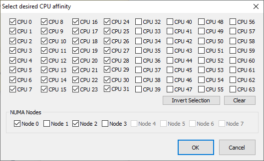 CPU Affinity Selection Dialog