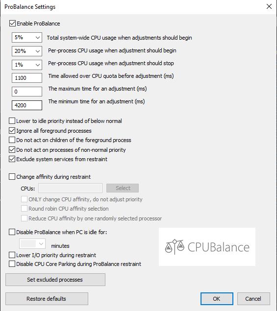 CPUBalance Advanced ProBalance Options Dialog Screenshot