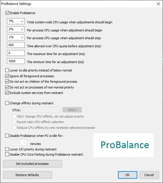 ProBalance Advanced Options Dialog Screenshot