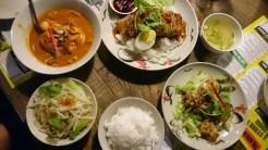 Massaman curry, bbq & roasted pork, garlic & pepper chicken