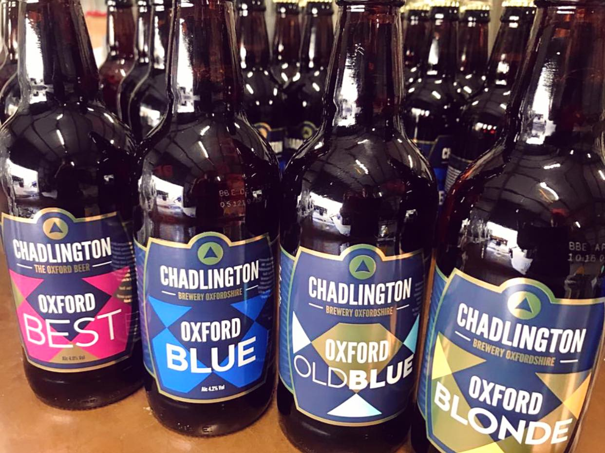 Bottled selection of beers at Chadlington Brewery