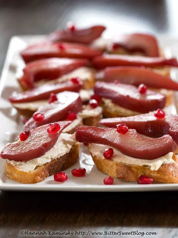 Pomegranate-Poached Pear Crostini