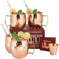 Moscow Mule Copper Mugs - Set of 4-100% HANDCRAFTED Food Safe Pure Solid Copper Mugs - 16 oz Gift Set with BONUS: Highest Quality 4 Cocktail Copper Straws and 1 Shot Glass with Recipe Booklet!