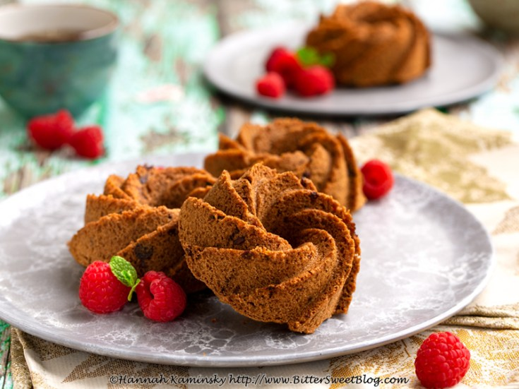 Malted Chocolate Chip Mini Bundt Cakes