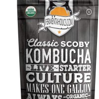 Fermentaholics Organic Kombucha SCOBY with Twelve Ounces of Starter Tea - Live Starter Culture