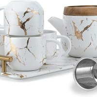 Taimei Teatime Tea Set, 25 fl.oz Modern Teapot with Infuser and Tea Cup Set, Tea Sets for Adults Set for 4 Teacups and 1 Serving Tray with Handle